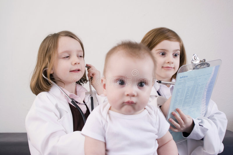 Playing doctor stock image