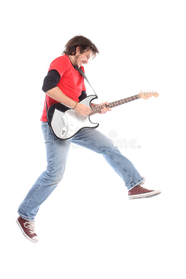 Playing electric guitar. On air royalty free stock photo