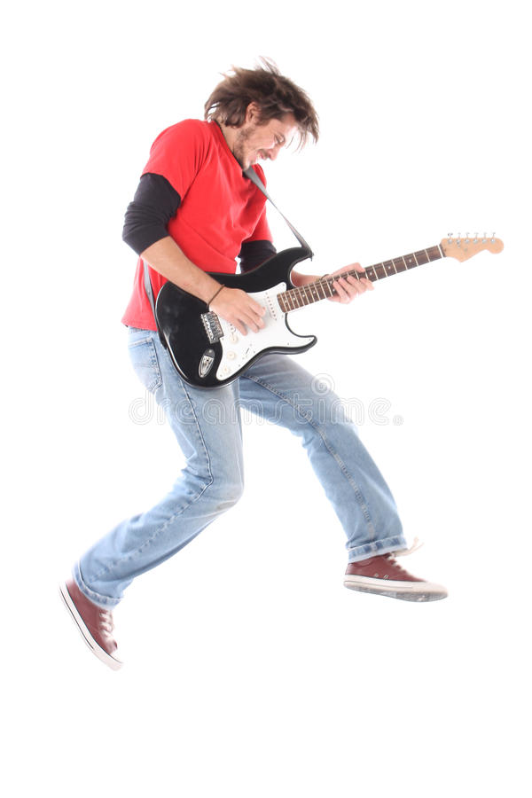 Playing electric guitar. On air royalty free stock image