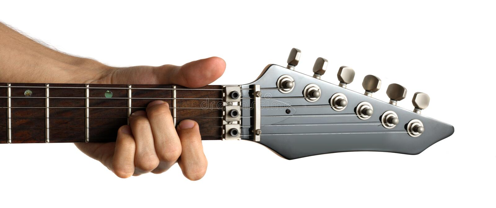 Playing an electric guitar. Hand fingering 'Am' chord on electric guitar, isolated on white background stock photo