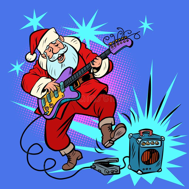 Playing the electric guitar. Santa Claus character Christmas new year royalty free illustration