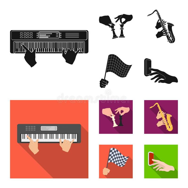 Playing on an electric musical instrument, manipulation with chess pieces and other web icon in black,flat style. Playing on an electric musical instrument stock illustration