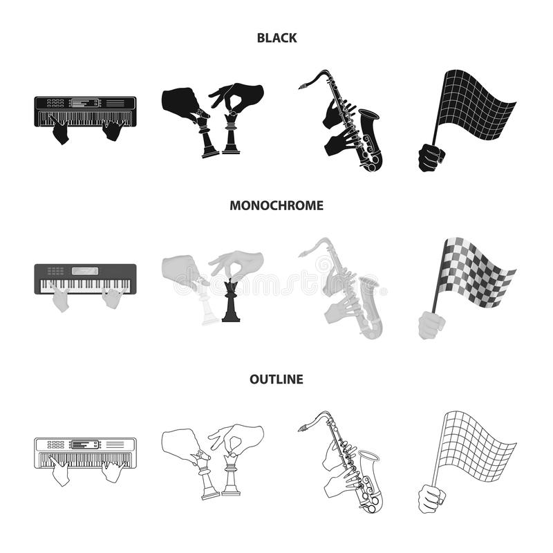 Playing on an electric musical instrument, manipulation with chess pieces and other web icon in black,monochrome,outline. Playing on an electric musical royalty free illustration