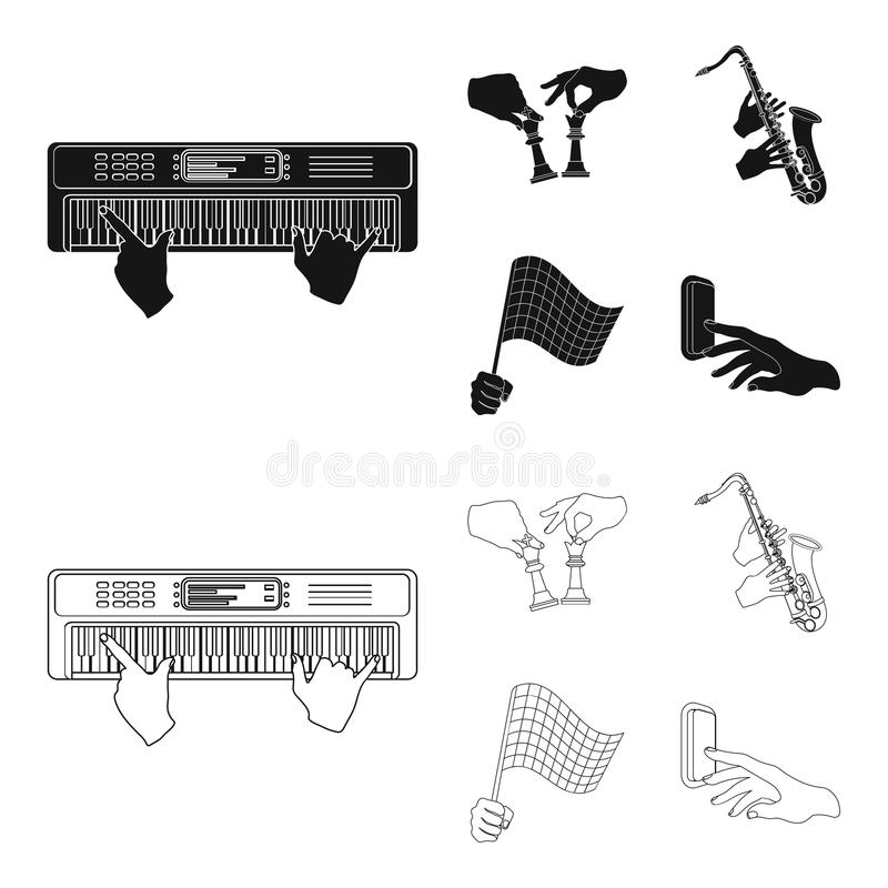 Playing on an electric musical instrument, manipulation with chess pieces and other web icon in black,outline style. Playing on an electric musical instrument stock illustration