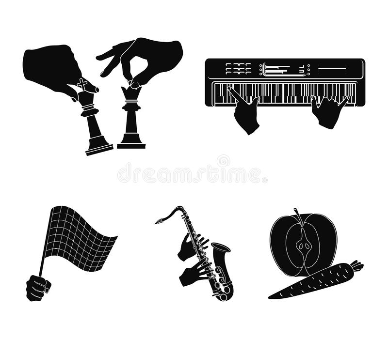 Playing on an electric musical instrument, manipulation with chess pieces and other web icon in black style. playing on. Playing on an electric musical stock illustration