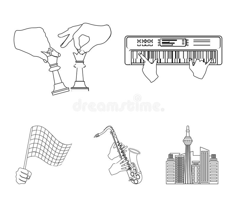 Playing on an electric musical instrument, manipulation with chess pieces and other web icon in outline style. playing. Playing on an electric musical instrument stock illustration