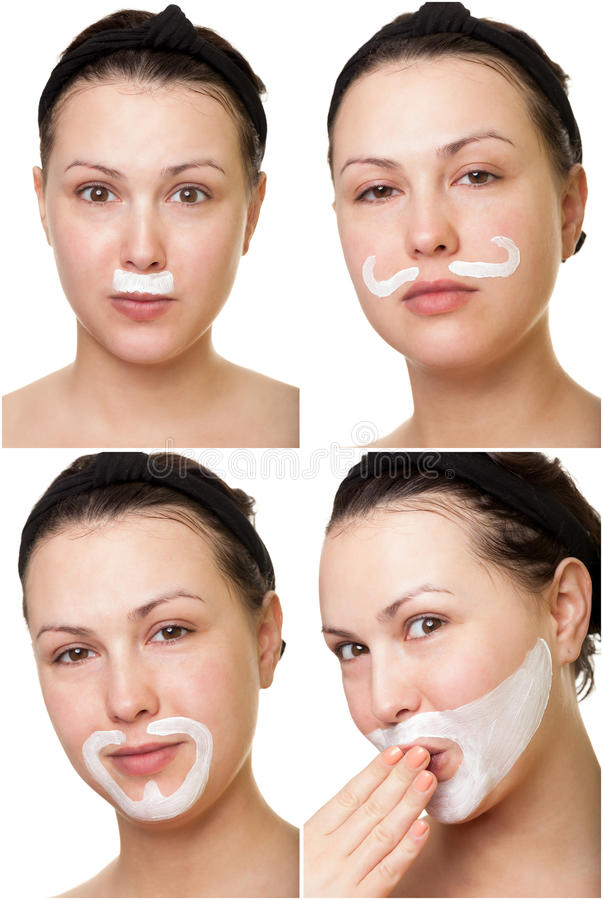 Playing with face cream. Making moustache and beard with face cream stock images
