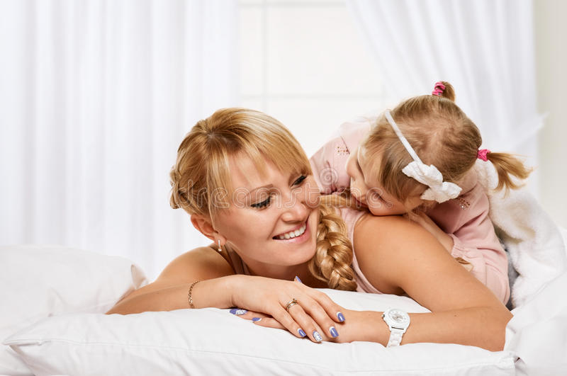 Playing family. having a good time Mother and little daughter stock photos