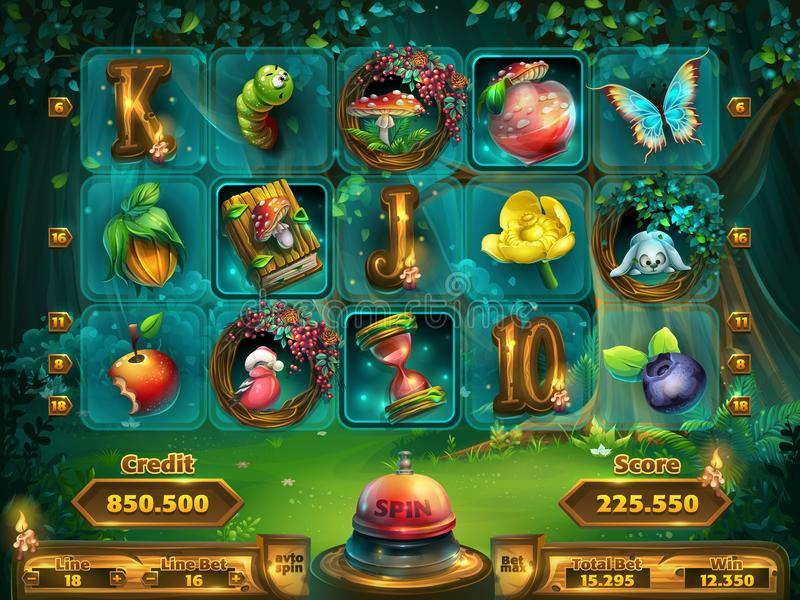 Playing field slots game for game user interface stock illustration