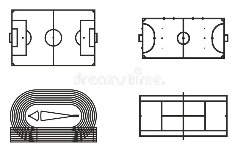 Playing Fields Icons Set 6 stock illustration