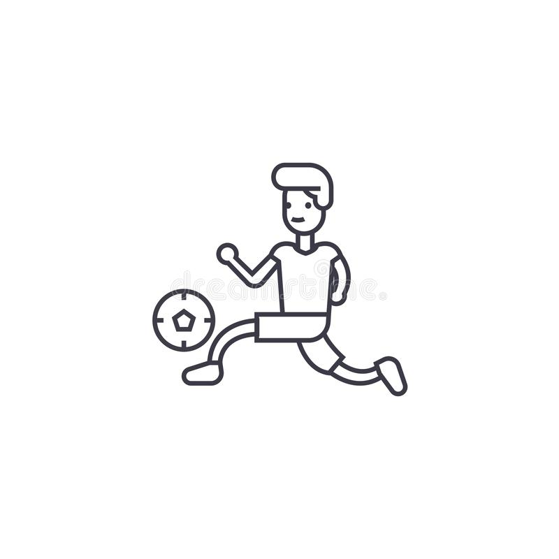 Playing football vector line icon, sign, illustration on background, editable strokes vector illustration