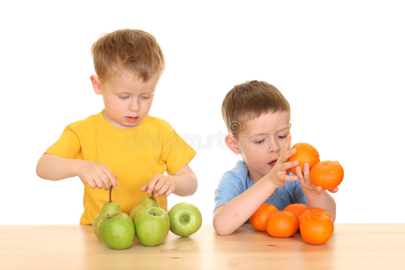 Playing with fruits royalty free stock image