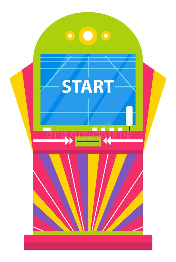Game Machine with Start Command on Screen Playing. Playing game machine vector, isolated machinery to entertain. Electronic device with start saying on screen stock illustration