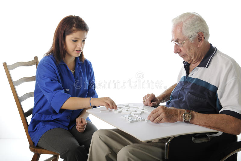 Playing Games with the Elderly stock photos