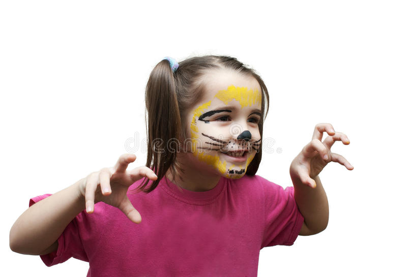 Playing girl in cat mask stock photo
