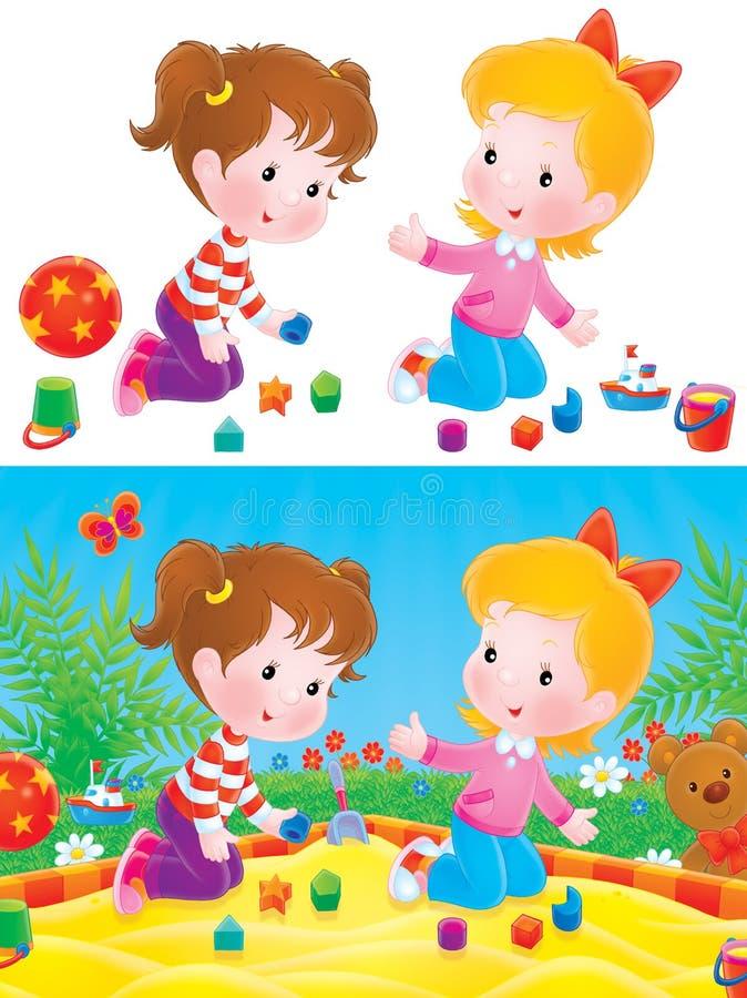 Download Playing girls stock illustration. Image of kiddish, bush - 8735892