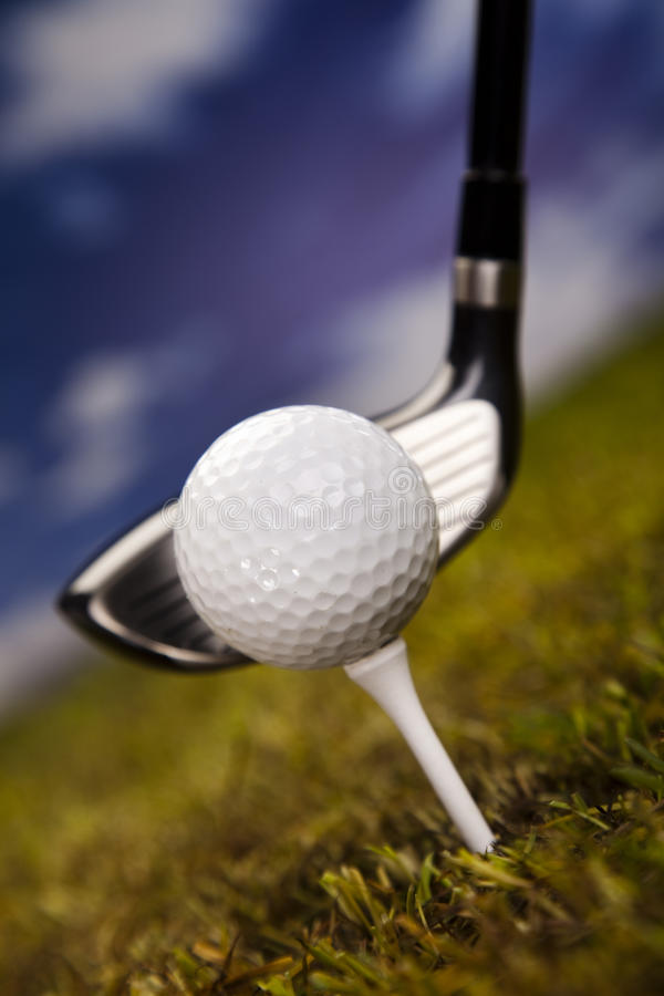Download Playing golf, ball on tee stock photo. Image of course - 26850330