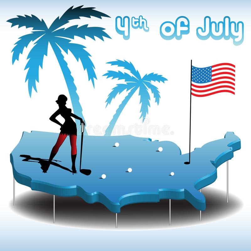 Playing golf on fourth of July. Abstract colorful illustration with young woman playing golf on the map of United States of America on fourth of July stock illustration