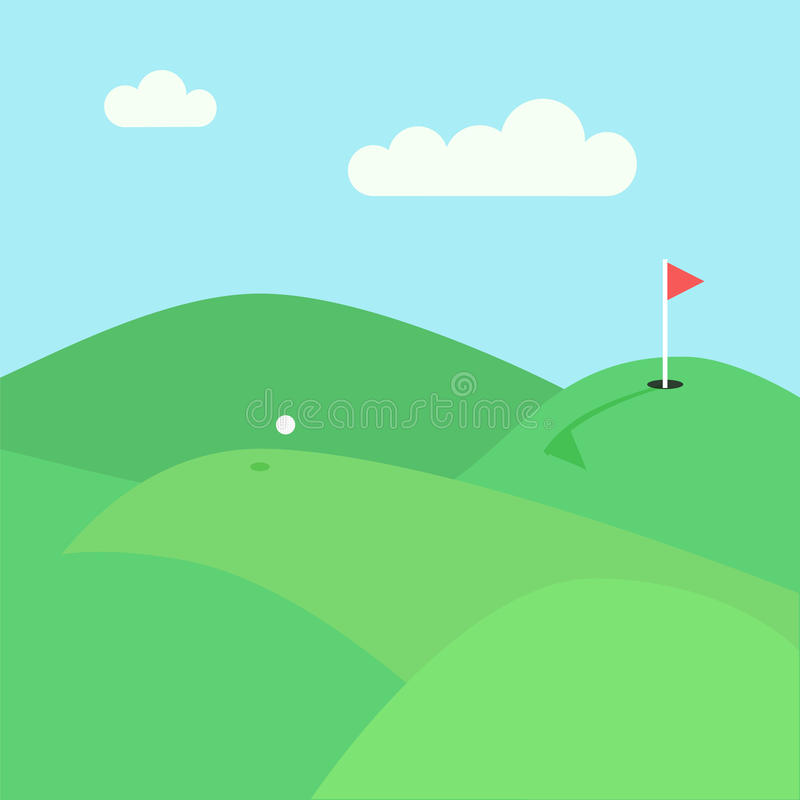 Playing golf view. Golf lawn view. Stock vector illustration of green hills and meadows with a flying white ball and red flag in a hole vector illustration