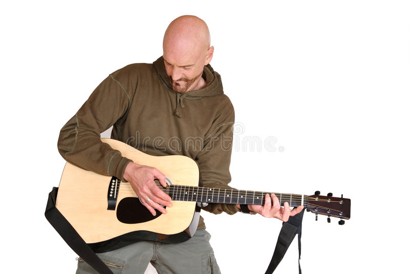Download Playing the guitar stock photo. Image of model, bald, acoustics - 3486032