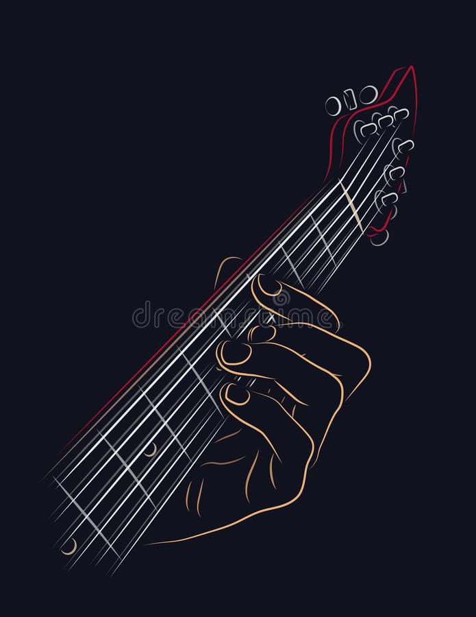 Playing guitar chord stock vector. Illustration of metal - 70099670