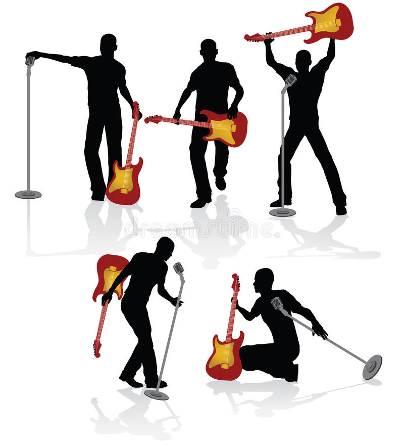 Playing guitarist. With electrical guitar and microphone stock illustration