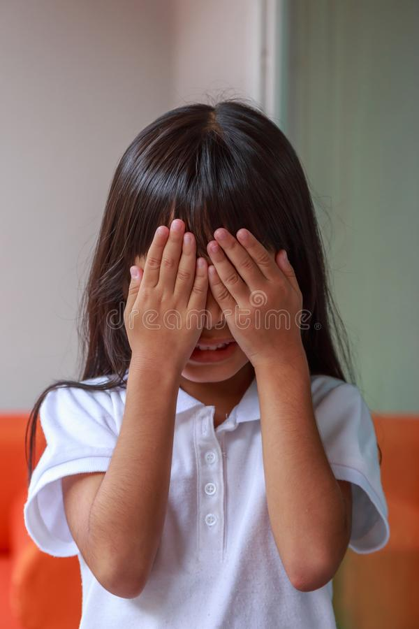 Playing hide-and-seek stock image