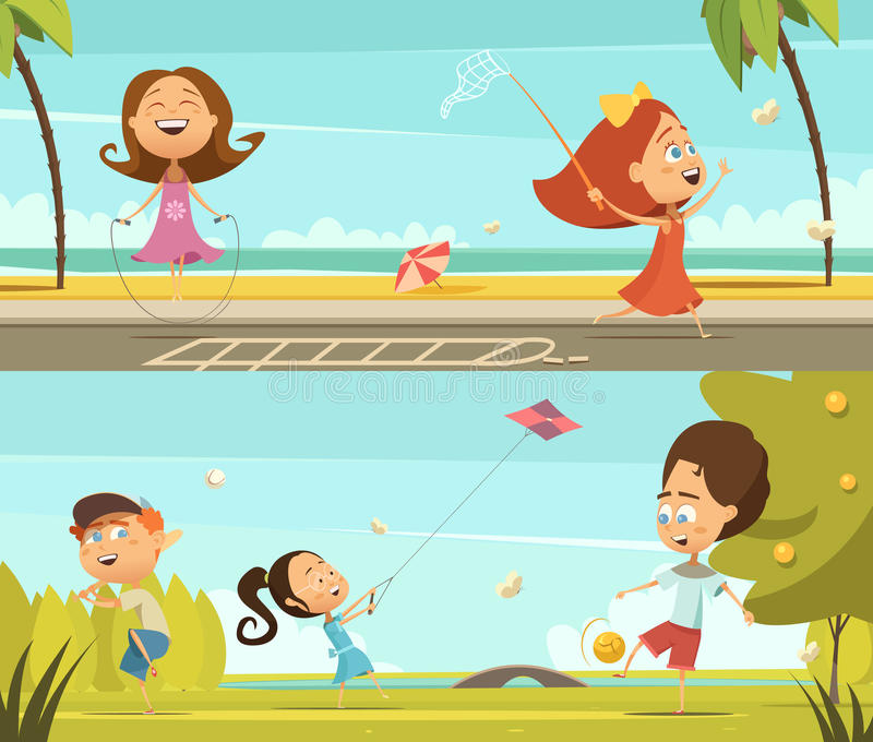 Playing Kids Banners Set vector illustration
