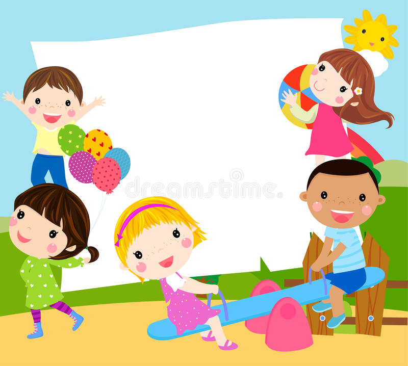 Playing kids and frame royalty free stock photos