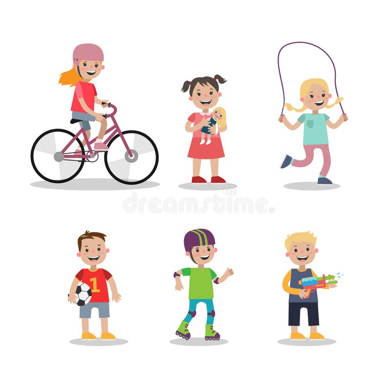 Playing kids set. royalty free illustration
