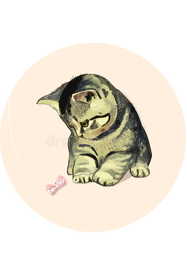 Download Playing kitten stock vector. Image of kitten, illustration - 34601462