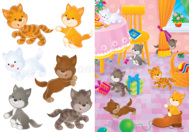 Playing kittens stock illustration