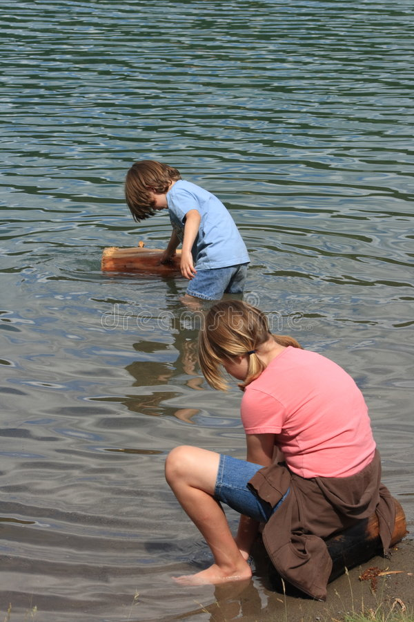Playing at the Lake stock images