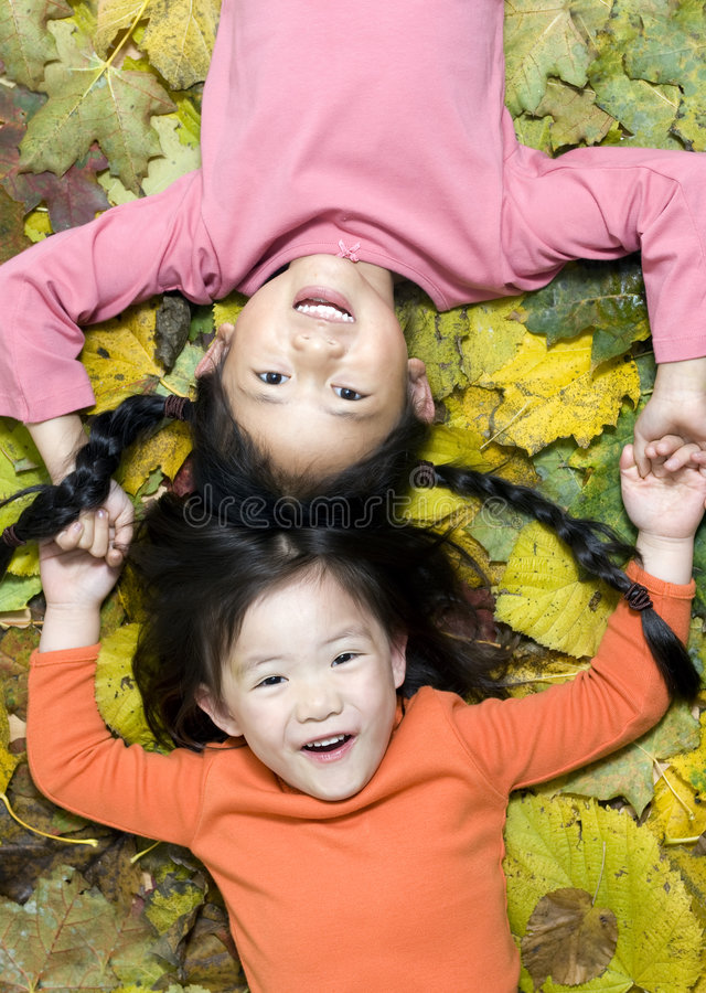 Download Playing in the leaves stock image. Image of yellow, childhood - 3480383