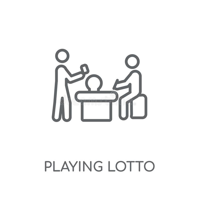 Playing Lotto linear icon. Modern outline Playing Lotto logo con stock illustration