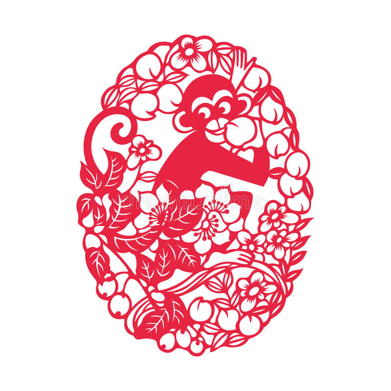 Playing monkey(Chinese traditional paper-cut art) royalty free illustration
