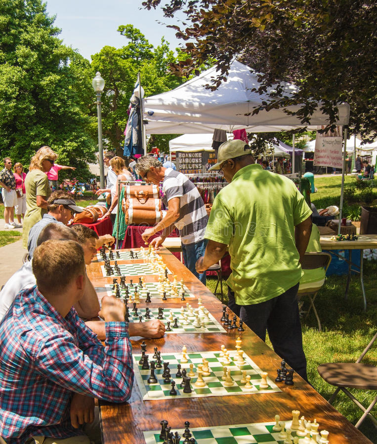 Playing Multiple Chess Games stock images