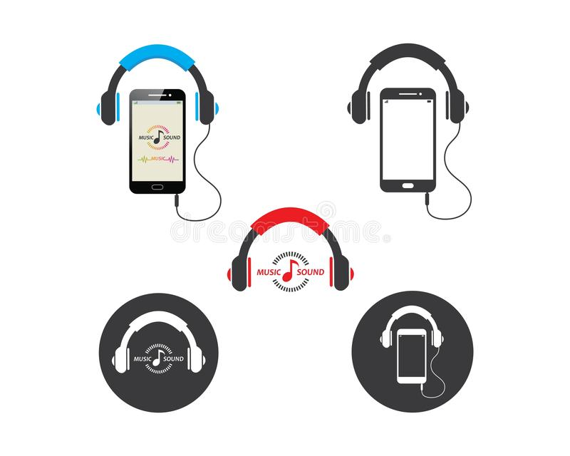 playing music in smartphone with earphone icon illustration vector vector illustration