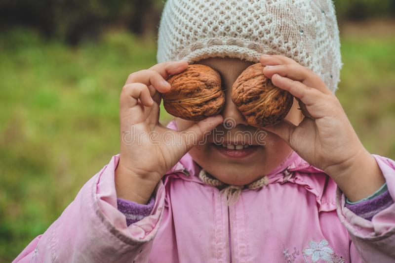 Playing outdoors cute little girl holding a nuts in front of her. Nuts harvests. Autumn in the garden, the girl and large nuts royalty free stock photos