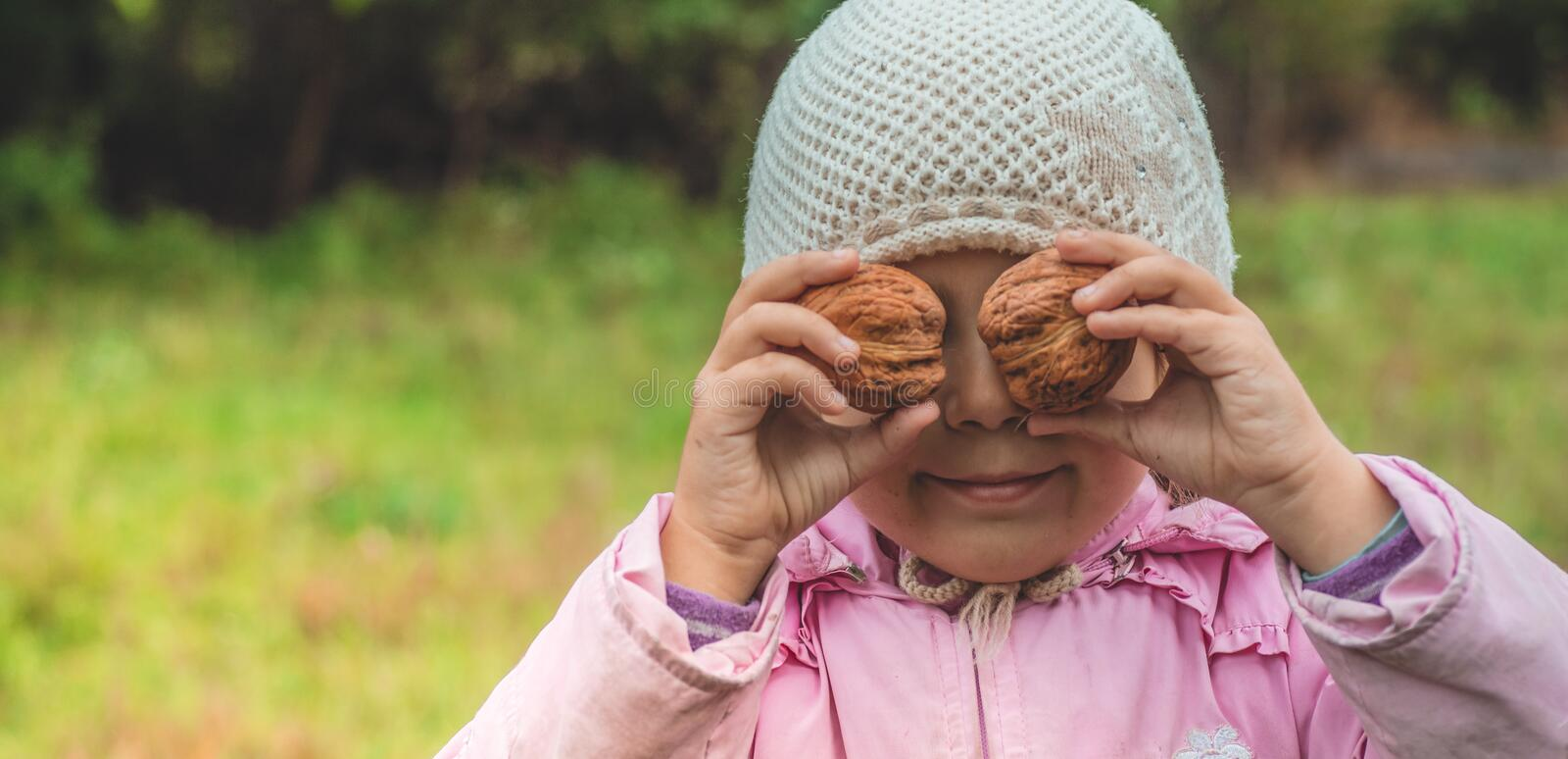 Playing outdoors cute little girl holding a nuts in front of her. Nuts harvests. Autumn in the garden, the girl and large nuts stock photography