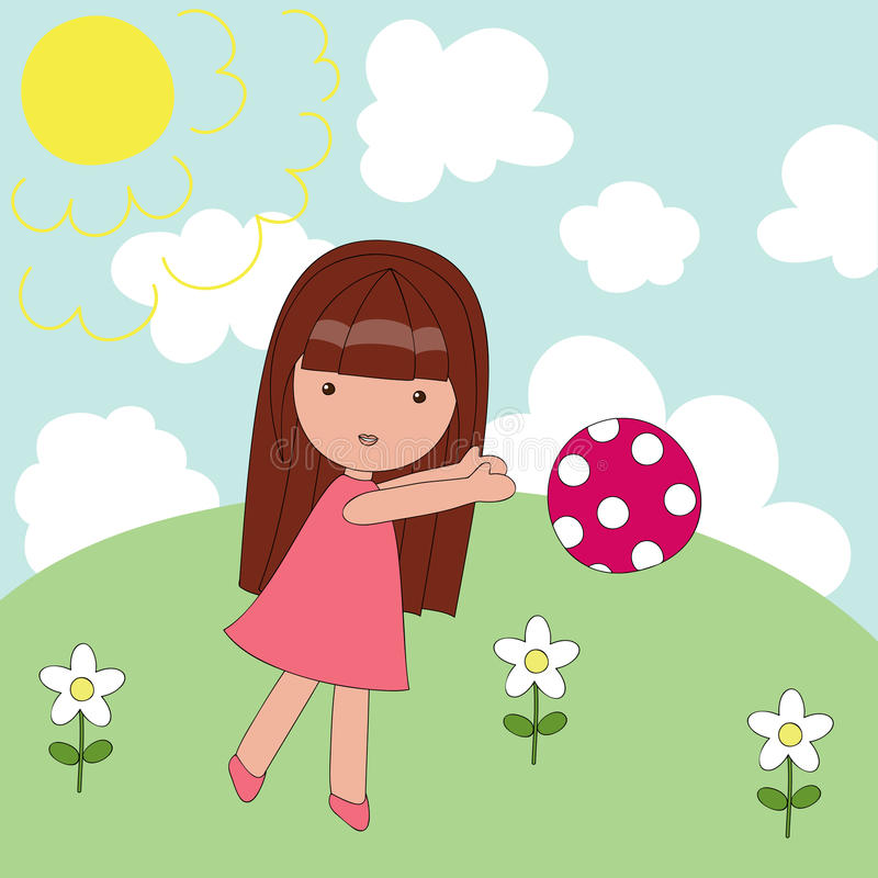 Playing outside girl. Girl plays on a meadow in sunny day royalty free illustration