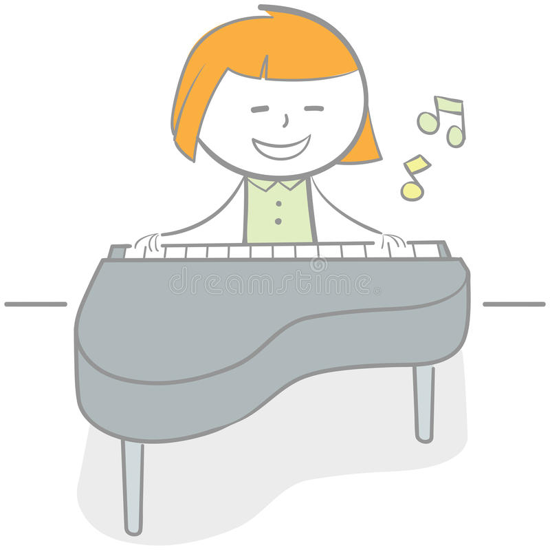 Playing Piano royalty free illustration