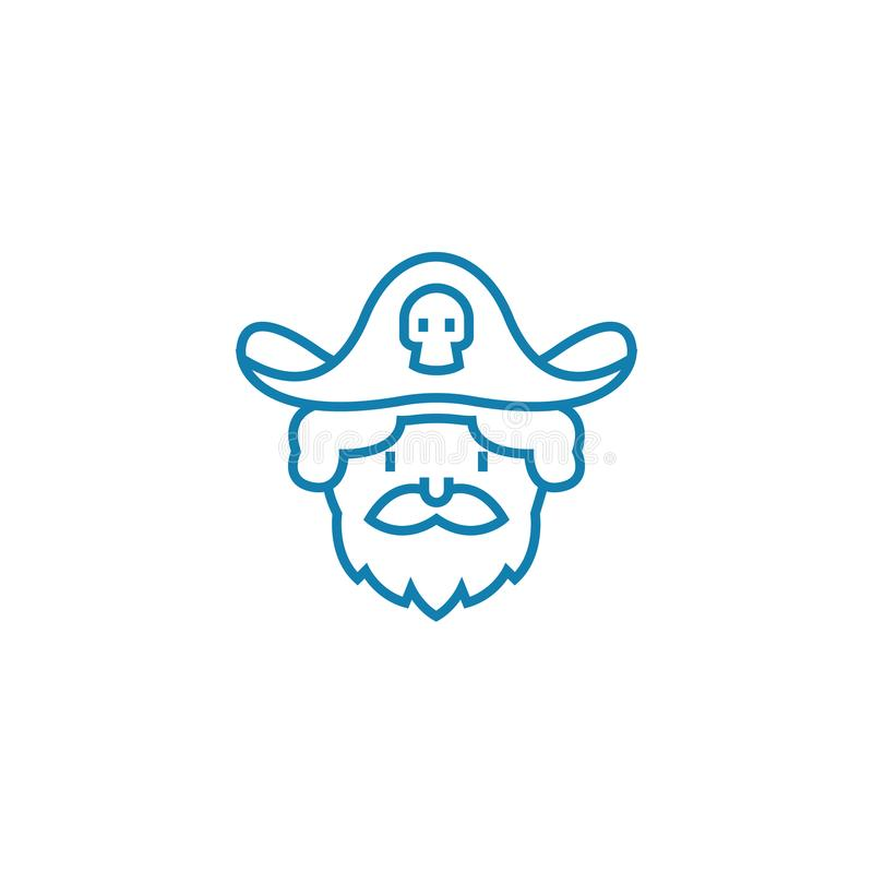 Playing pirate linear icon concept. Playing pirate line vector sign, symbol, illustration. vector illustration