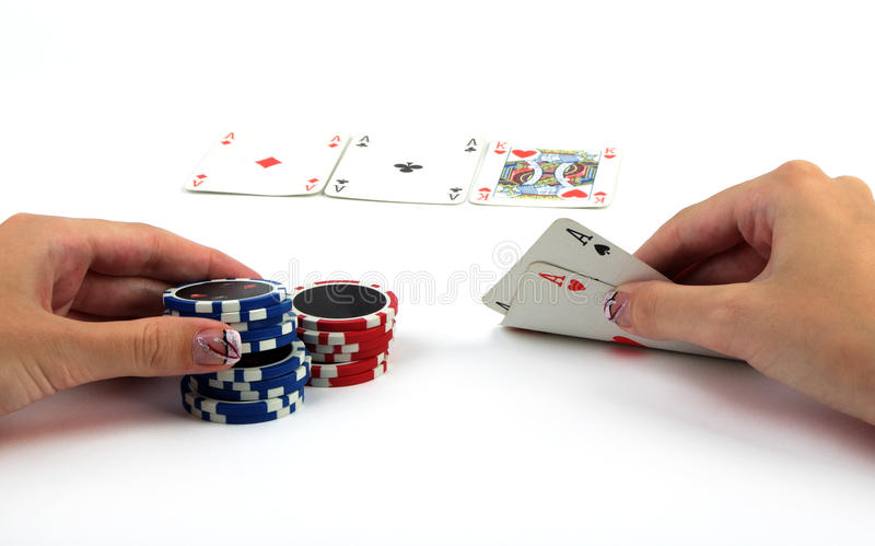 Playing poker royalty free stock photography