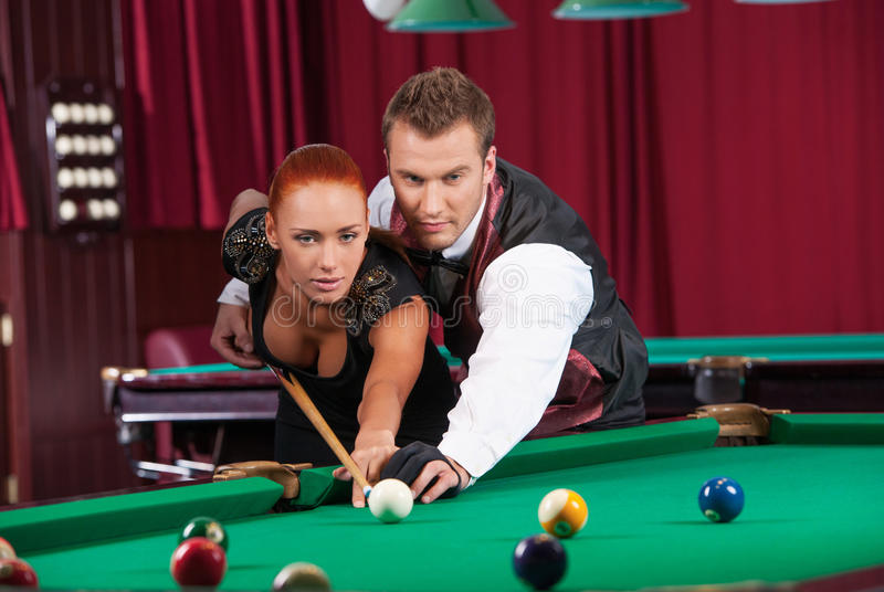 Download Playing pool. stock photo. Image of leisure, game, activity - 33687134
