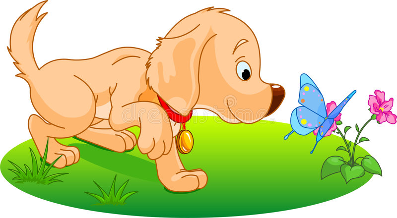 Download Playing puppy stock vector. Illustration of flower, isolated - 8276353