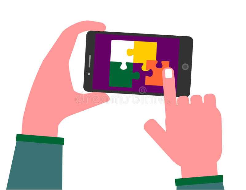 Playing puzzle on mobile phone stock illustration
