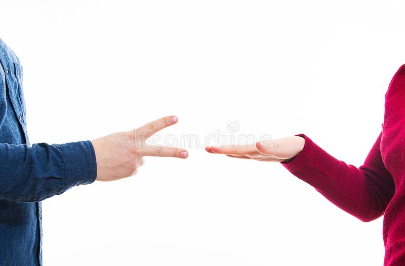 Playing rock paper and scissors game royalty free stock images