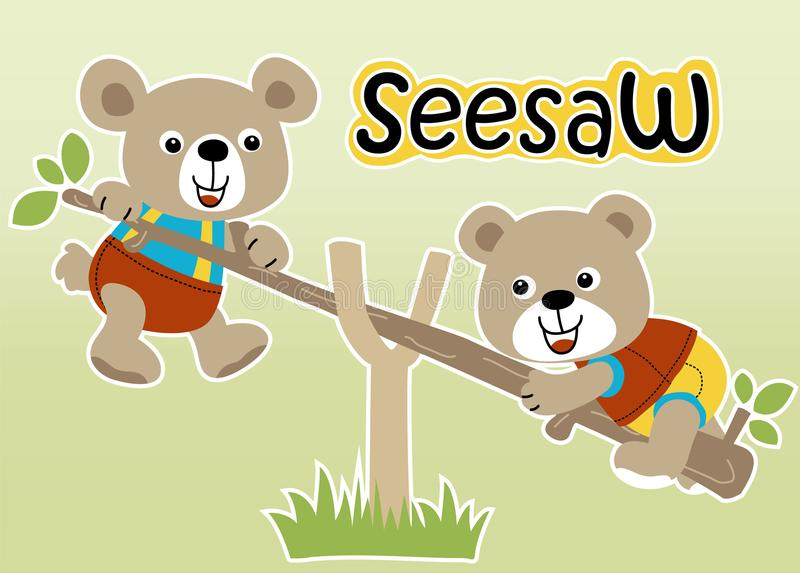 Playing seesaw with cute animals vector illustration
