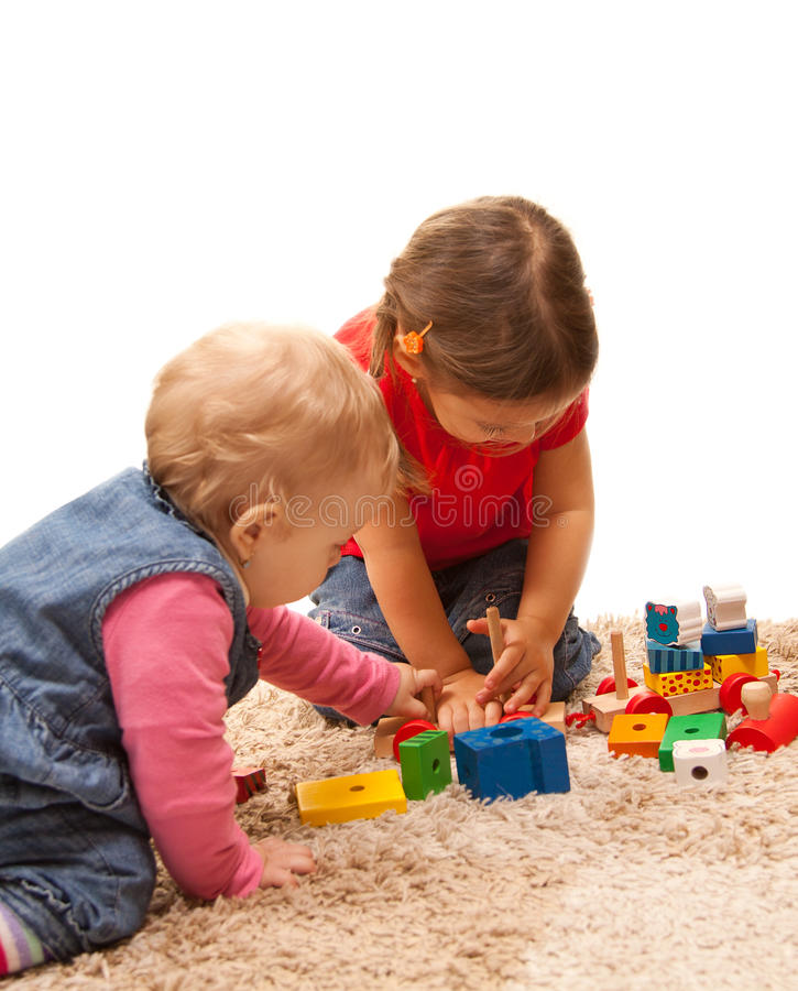 Playing sisters royalty free stock photo